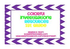 Investigations Resources for 1st grade in neon and primary colors