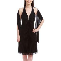 ASpeed Black Pleated Halter Dress Set ($33) ❤ liked on Polyvore featuring dresses, black dress, zipper dress, halter dress, black pleated dress and black halter top