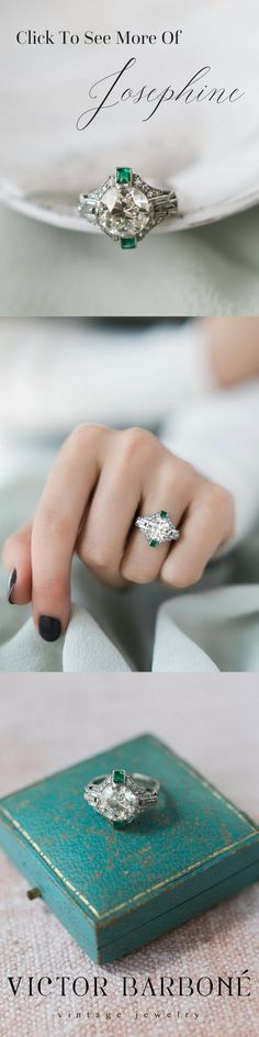 The most beautiful, authentic Art Deco Engagement Ring! The Josephine ring from Victor Barboné Jewelry centers a 3.01 carat round old European cut diamond set in the most beautiful setting with vibrant emerald accents and gorgeous baguettes all in a low-profile setting! This ring is so unique, timeless, and beautiful!
