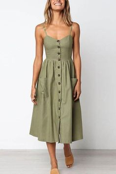 Green button up sleeveless midi dress. Cute for Summer.