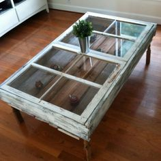 Coffee table made from old windows and old barn wood: