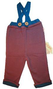 Pantalon enfant à bretelles en coton bio violet et bleu, tailles 2 ans et 3 ans, Patatrac #pantalonbretellesenfantbio