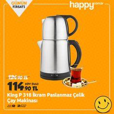 Günün Fırsatı! King P 318 İkram Çay Makinası sadece 114.90 TL! Sipariş için: https://www.happy.com.tr/king-p-318-ikram-cay-makinasi