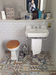 Love the tiles and style of sink. Toilet, Sink, Bathroom, Home Decor, Style, Sink Tops, Washroom, Swag, Flush Toilet