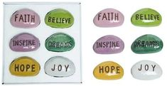 Amazon.com : TII Set of 6 Inspiration Stones for Garden and Home Decor in Glazed Ceramic with Embossed Messages, 4 Inches Each : Garden & Outdoor Bookshelf Decorating, Bowl Fillers, Garden Stones, Glazed Ceramic, Entryway Decor, Outdoor Gardens, Joy, Vase, Messages