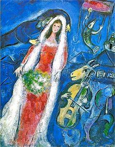 Marc Chagall  The Bride(La Mariée), 1950, gouache and pastel, 68 × 53cm, private collection, Japan.