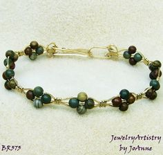 Fancy Jasper Bracelet  Handmade Wire Wrapped in by JewelryArtistry, $35.00