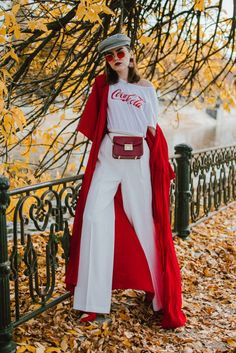 Back to the 70s in this red duster coat