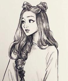 hair sketch tutorial step by step . Girl Drawing Sketches, Girly Drawings, Art Drawings Sketches Simple, Pencil Art Drawings, Tumblr Sketches, Drawing Tips, Pencil Sketches Of Girls, Girl Drawing Pictures, Tumblr Girl Drawing