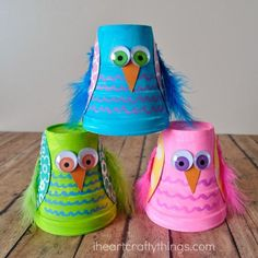 CUTE AND COLORFUL STYROFOAM CUP OWL KIDS CRAFT  http://www.iheartcraftythings.com/2015/10/styrofoam-cup-owl-kids-craft.html