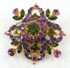 Austria Purple, Pink, Peridot Rhinestone Brooch - Garden Party Collection Vintage Jewelry