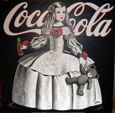 Menina con coca cola y osito de peluche,serie logotipos.  Acrílico sobre lienzo