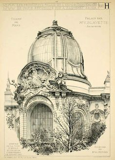 Detail of a domed pavilion entrance of the palaces on the Champ de Mars for the 1900 Exposition Universelle, Paris