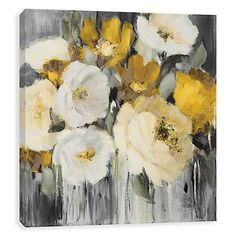 Product Details Gold in the Night Embellished Canvas Art Print - Art Painting Abstract Canvas, Canvas Art Prints, Painting Prints, Flower Painting Canvas, Paintings, Arte Floral, Abstract Flowers, Art Pictures, Painting Inspiration