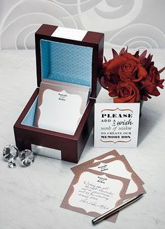 ;A Memory Box presents an easily personalized alternative to the traditional guest book.Pleasesearch style # 9163 for thestationery available which will nestle perfectly inside the box. The stationery can be left out for guests to write their own personal message on, which when completed will be placed inside the keepsake box. A sign is supplied which will ensure that the guests know what is expected of them. The finished memento is a richly colored wooden box ...