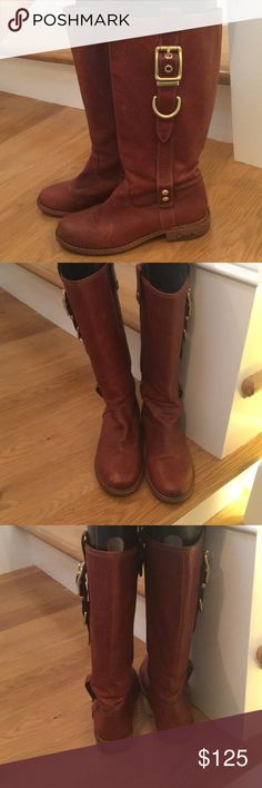 Coach Weslyn riding boots size 8 cognac Coach Weslyn boots size 8 in cognac leather. Soles are in great shape. Worn in as shown. Natural leather wear, they are in very good shape for a classic riding boot. Coach Shoes