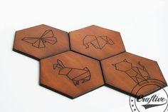 Geometric Home decorOrigami Hexagon Coasters by CraftiveLeather