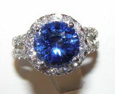 GIA Certified TOP Ceylon Blue Sapphire Diamond Ring 14KWG 6.96 ctw