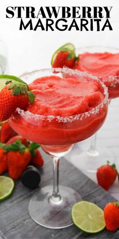 Learn how to make a Strawberry Margarita without a bottle of premix! Strawberry Margaritas from scratch are not hard to make and everyone will ask for the recipe! Summer Drink Recipes, Alcohol Drink Recipes, Best Cocktail Recipes, Kitchen Recipes, Raw Food Recipes, Vegan Kitchen, Rib Recipes, Sausage Recipes, Steak Recipes