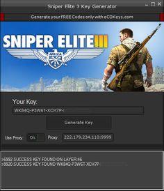 New Sniper Elite 3 CD-Key Generator download undetected.File updated hack 2016.No survey download hack,download crack for Sniper Elite 3 CD-Key Generator .Free database of hacks,cracks,injectors,keygens.Download hacks,download cracks..