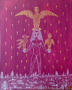 Mujer con tres pajaros 2