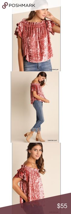 Crushed velvet off the shoulder top Gorgeous crushed velvet in a canyon clay pink shade. Umgee Tops Blouses