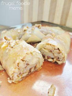 Baklava Egg Rolls via thefrugalfoodiemama.com