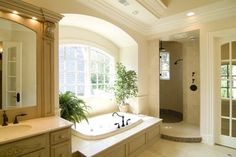 Bathroom shower Design Ideas, Pictures, Remodel and Decor/lights in molding around mirror