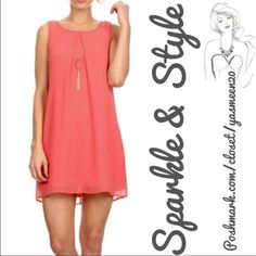 """NWT✨Coral/Salmon dress✨ Beautiful salmon dress! A spring/summer must have! Pull on style with light, airy fabric.  Beautiful gold tone necklace with matching stone included. Necklace and be attached to dress or worn separately with a different outfit.  100% polyester dress 100% polyester full lining  Bust:  36"""" Waist:  38"""" Length:  33"""" AS U WISH Dresses"""