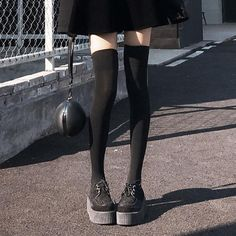 Velvet Thigh High Over The Knee Socks Women Sexy Longituba Silicone Non-slip Stockings Harajuku Gothic Womens Clothing Thigh High Tights, Thigh Highs, Knee Highs, Moda Grunge, Skinny Inspiration, Skinny Girls, Knee Socks, Mode Style, Look Cool