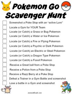 How to Hold a Pokemon Go Scavenger Hunt by Car + Printable Scavenger Hunt