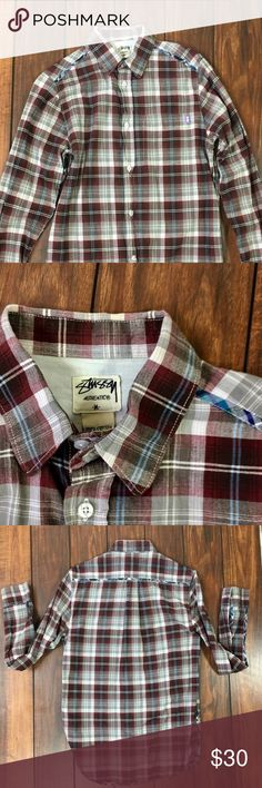 Vintage Stussy red Plaid Long sleeve button Up Vintage Stussy red Plaid Long sleeve button Up, sized medium M, this is an awesome shirt the traditional red plaid is accented by a teal yellow over soon seem across the arms and sides of the shirt 🍀💰✨St Patricks Day Sale Stussy Shirts Casual Button Down Shirts