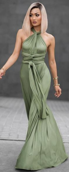 #Street #Fashion | Grecian Vibes Green Gown | Micah Gianneli