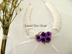 Wedding Horseshoe Bridal good Luck charm - Purple Rose cluster on Etsy, $22.86