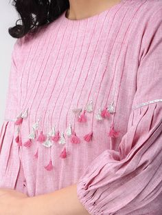 Pink Khadi Cotton Kurta is part of Kurti sleeves design - Neck Designs For Suits, Sleeves Designs For Dresses, Neckline Designs, Dress Neck Designs, Blouse Designs, Salwar Designs, Kurta Designs Women, Kurti Designs Party Wear, Kurti Sleeves Design