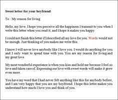 love letter to your boyfriend