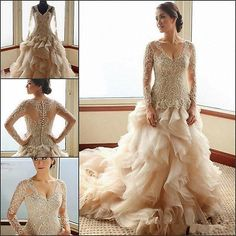 Luxury Wedding Dresses V Neck Organza Ball Gown Gold Bead Bridal Chapel Train