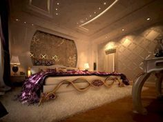Plum and gold bedroom fits for a king