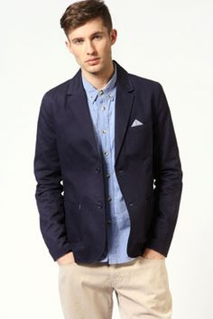 Skinny Linen Jacket w Elbow Patch / Paisley Gray