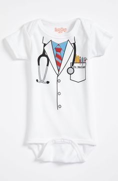 Adorable! This doctor print onesie can double as a Halloween costume.