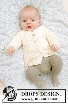 Precious Moments / DROPS Baby - Free knitting patterns by DROPS Design, Knitted jacket for babies with raglan in DROPS Merino Extra Fine. The piece is knitted from the bottom up with a structured pattern. Large premature b. Baby Knitting Patterns, Baby Cardigan Knitting Pattern Free, Baby Patterns, Crochet Patterns, Knitting For Charity, Knitting For Kids, Free Knitting, Drops Design, Designer Baby