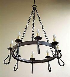 'Shepherd's crook' 8-light wrought iron chandelier from Nigel Tyas  #wroughtiron #chandelier #lighting
