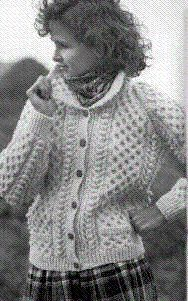 Hmmm.... maybe?  Instead of Uji?  - Women Irish Sweater with pockets = Irish Knits,Aran sweaters,womens fishermens pattern,knitted