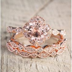 Free Shipping. Buy 2 carat Morganite and Diamond Trio Wedding Bridal Ring Set in 10k Rose Gold with One Engagement Ring and 2 Wedding Bands at Walmart.com