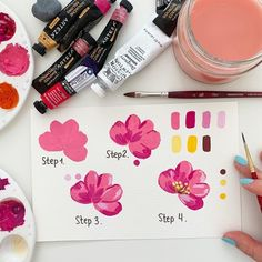 Watercolor Flowers Tutorial, Watercolor Paintings, Watercolour, Gauche Painting, Gouache Color, Illustration Noel, Illustrations, Mini Canvas Art, Art Tutorials