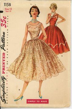 1950s Evening Dress Pattern Simplicity 1158 Junior Sleeveless Full Skirt Rockabilly Dress Bust 31 Womens Vintage Sewing Pattern.