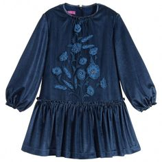 A charming dark blue dress by Valmax with a gathered dropped waisted skirt. It is made in a lightweight stretchy velour with an embroidered tulle panel over the front bodice. It is fully lined and has a stiffened petticoat to give the skirt extra volume. Navy Dress, Blue Dresses, Short Dresses, Girls Dresses, Designer Dresses For Kids, Frocks For Girls, Dubai Fashion, Kids Fashion, Girl Outfits