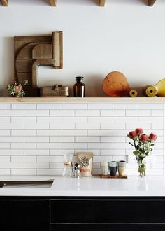 Inside a Charming Australian Cottage // subway tile backsplash