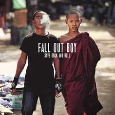 "FOB - Save Rock and Roll ""when we were beginning the journey of making this record we wanted to find some inspirational images. we came across the punk and monk image on the Internet and it really solidified what we were trying to get across on the record - the idea of old and new clashing. tradition and change coming together..."""