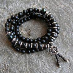Strength - 108 mala ebony prayer beads, genuine dark green freshwater pearls wrap bracelet or necklace , convertible